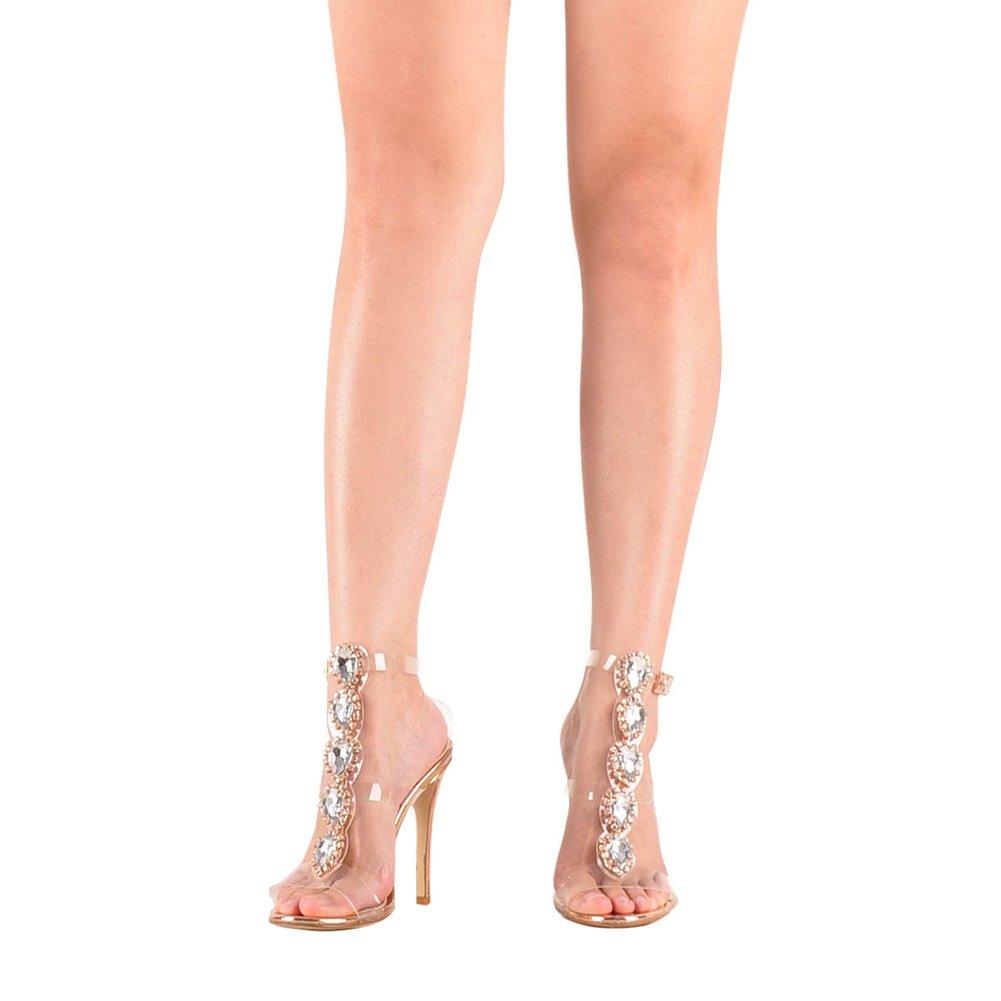 Unique Faux Gemstone Transparent One-Buckle Strap Gladiator High-Heel Rose Gold Sandals