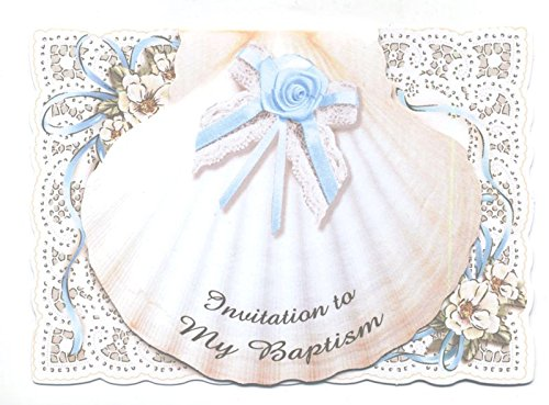 Read Online 8 pack Blue Shell Baptism Invitations with Envelopes pdf