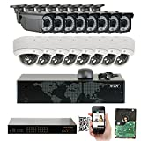 GW 16 Channel 1920P NVR Video Security Camera System - 8 x Bullet & 8 x Dome 5MP 1920P Weatherproof 2.8-12mm Varifocal Cameras, Realtime Recording 1080p @ 30fps, Pre-Installed 4TB HDD