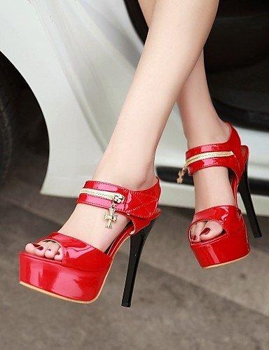Rojo Tacones nbsp;– Sandalias Fiesta Peep nbsp;7 Casual Vestido de Plataforma rojo mujer Toe Rojo y lfnlyx tacón de Noche talón B18 zapatos Negro pvnHPzPT