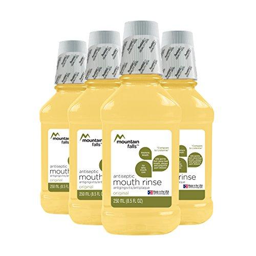 Antiplaque Mouthwash - Mountain Falls Antiseptic Original Amber Mouthwash, ADA Accepted Antiplaque, Antigingivitis Oral Rinse for Fresher Breath, 8.44 Fluid Ounce (Pack of 4)