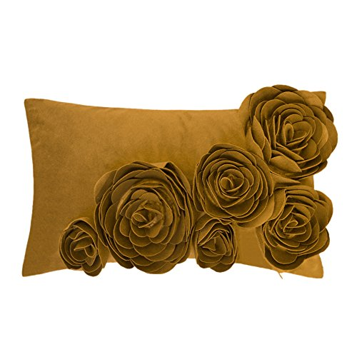 JWH 3D Handmade Accent Pillow Cases Rose Flowers Cushion Covers Super Soft Velvet Decorative Pillowcases Home Sofa Car Bed Room Office Chair Decor Pillowslips Gifts 12 x 20 Inch Mustard (Yellow Pillow Mustard)