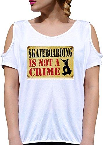 T SHIRT JODE GIRL GGG27 Z1322 SKATEBORDING IS NOT A CRIME USA VINTAGE FUNNY FASHION COOL BIANCA - WHITE M