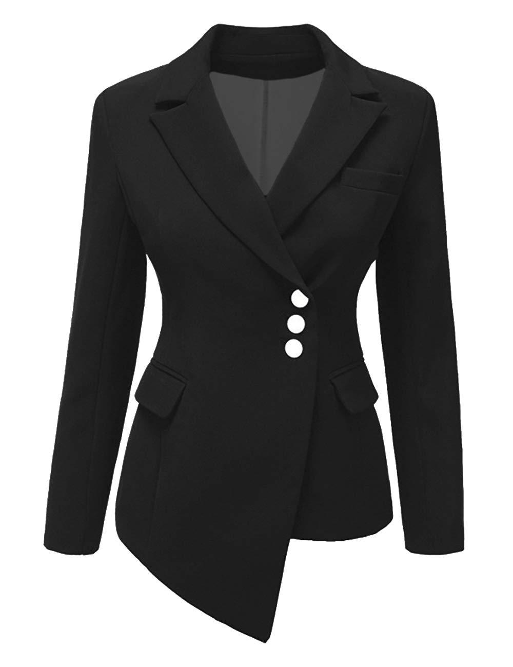 SEBOWEL Women's Casual Work Blazer Slim Open Front Asymmetric Office Jacket Suit Black L