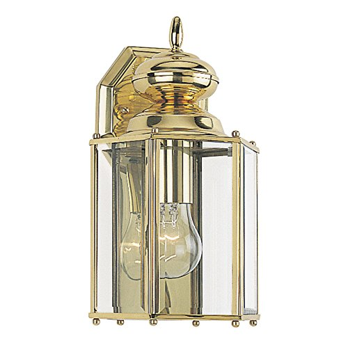 Sea Gull Lighting 8509-02 Classico One-Light Outdoor Wall Lantern With Clear Beveled Glass Panels, Polished Brass Finish Review