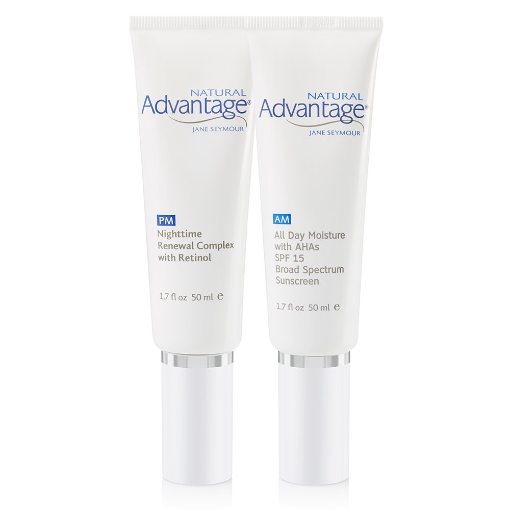 Morning and Evening Anti-Aging Hydration Kit – All Day Moisture SPF 15 – Nighttime Renewal Complex with Retinol – Natural Advantage by Jane Seymour