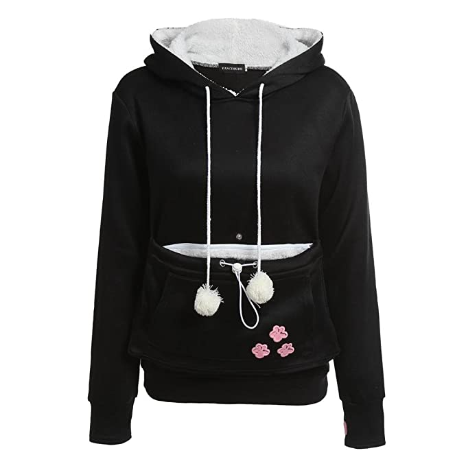 the latest ac795 a595d Besties Shop Women's Cat Hoodie Pet Pullover Holder + Free Cat Lover Socks