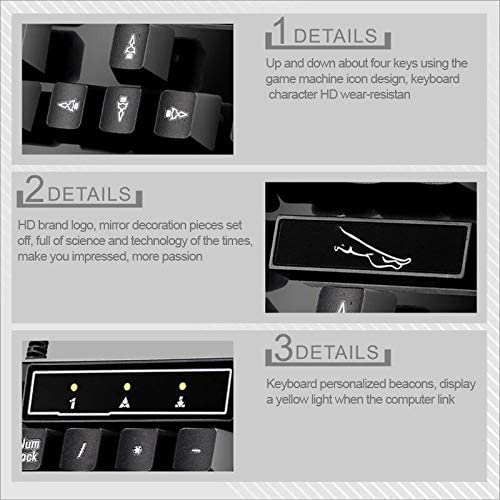 Ysswjzz Mechanical Gaming Keyboard,RGB Backlit Keys,USB Wired Suspension Gaming Office Keyboard Wired Symmetrical Mouse Set Color : Black