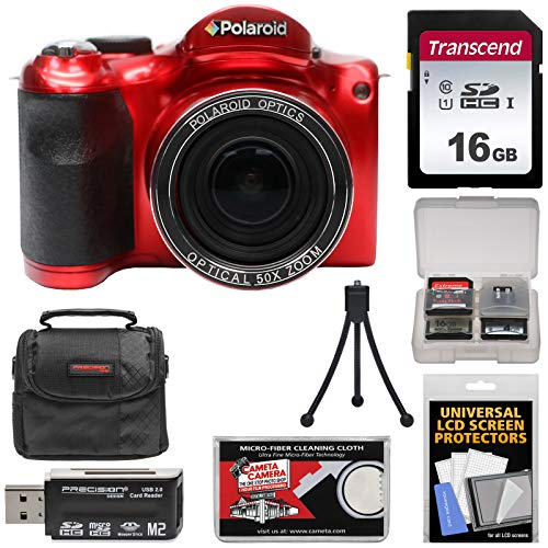Polaroid iX5038 50x Optical Super Zoom Digital Camera (Red) with 16GB Card + Case + Mini Tripod + Reader + Kit