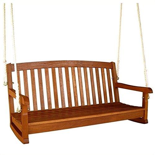 International Caravan TT-SW-006-2-IC Furniture Piece Royal Tahiti Curved Back Wood Two Seated (Teak Porch Swing)
