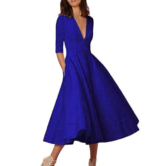 QinMM Vestido Mujer, Color sólido Profundo V Cuello Vestido de Baile Fiesta de Noche cóctel