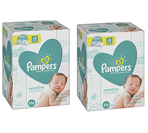 Pampers Sensitive Water-Based Baby Diaper Wipes - 9 Refill Packs for Dispenser Tub - Hypoallergenic and Unscented - 576 Count (Pack of 2)