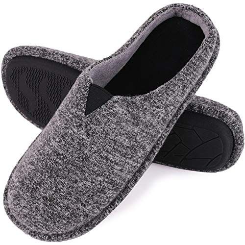 ey Knit Memory Foam Slippers Terry Cloth House Shoes with Stretchable Band (11-12 M US, Gray) ()