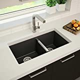 Kitchen Sink. Atlantis - Black Granite 60/40 Top or Under Mount Kitchen Sink With Pre-Drilled Holes, Includes 2 Stainless Steel Strainers, Resists Heat, Will Not Fade, Template & Hardware Included