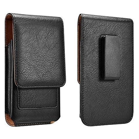 Yuzihan iPhone 7 Plus 6S Plus 6 Plus 5.5 Belt Holster Pouch Case Leather Holster With Swivel Belt Clip Cards Slot Fit With Slim Case / Otterbox Commuter Case / Spigen Case - Iphone Vertical Case