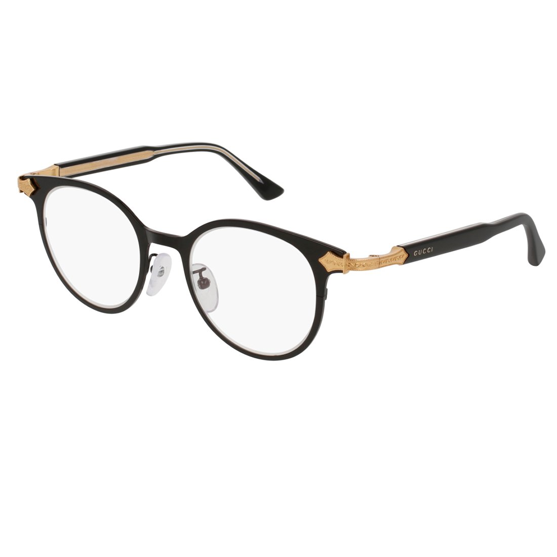 Gucci GG 0068O 001 Black Gold Titanium Round Eyeglasses 49mm