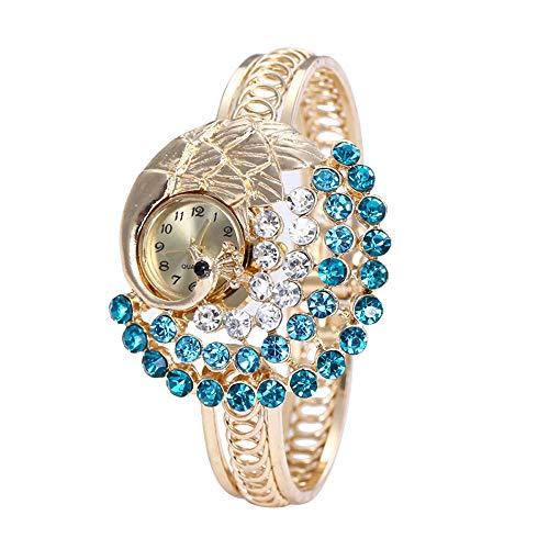 Loyalt Fashion Women Round Full Diamond Bracelet Watch Analog Quartz Movement Wrist Watch Watches Round dial case Wratch (Blue) ()