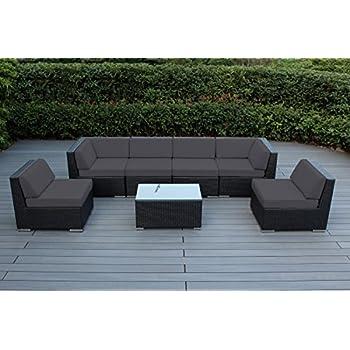 Genuine Ohana Outdoor Patio Wicker Sectional Furniture 7pc Sofa Set ( Sunbrella Coal)