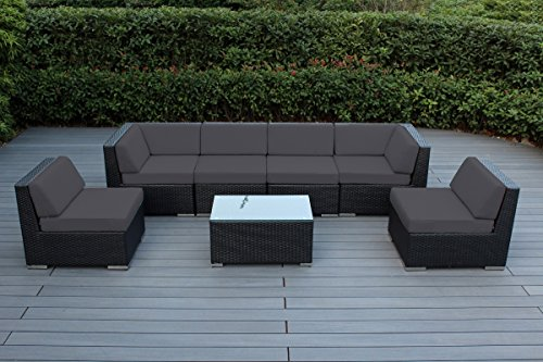 Genuine Ohana Outdoor Patio Wicker Sectional Furniture 7pc Sofa Set (Sunbrella Coal)