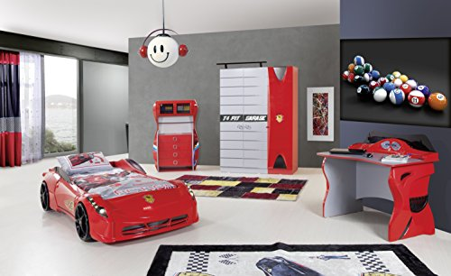 Red Ferrari Style Racer 3 Piece Bedroom Set (Red 3 Piece Bedroom Set) Cars Bedroom Set