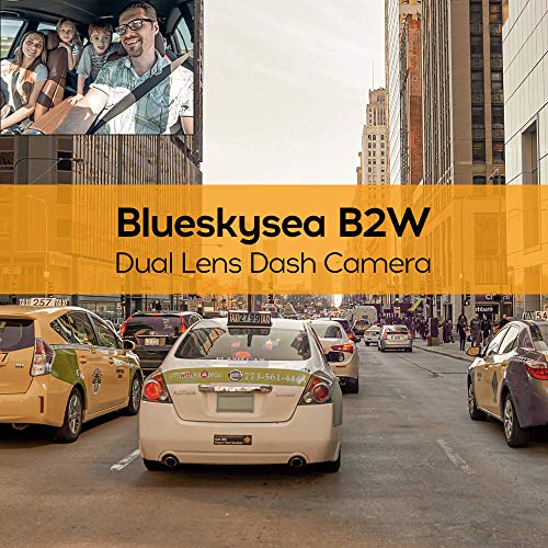 Blueskysea B2W 1080P Dual Dash Cam Front and Inside Dashcam HD Double Rotatable Lens Driving Recorder Camera with IR Night Vision 2'' Screen 32GB SD Card for Uber Rideshare Lyft Car Driver