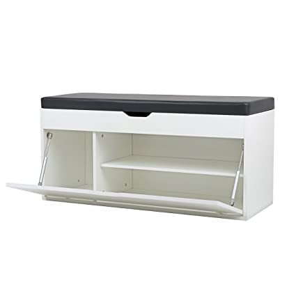 Kunes - Banco de almacenamiento - Mueble zapatero de madera con ...