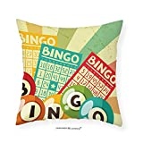 VROSELV Custom Cotton Linen Pillowcase Vintage Decor Bingo Game with Ball and Cards Pop Art Stylized Lottery Hobby Celebration Theme for Bedroom Living Room Dorm Multi 24''x24''