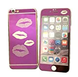 Dreams Mall(TM)Top Fashion Electroplating Mirror Effect with Lips Tempered Glass Screen Protector Film Decal Skin Sticker Front & Back for Apple iPhone 6 Plus/6S Plus 5.5 inch-Purple