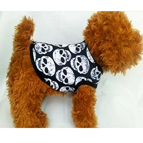 Image of haoricu Puppy Clothes, Small Dog Cat Pet Black Skull Vest T-Shirt Puppy Apparel (S)