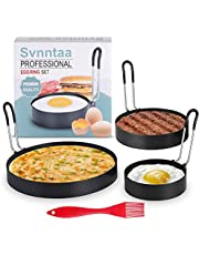 3 Size Egg Rings Food Grade Stainless Steel Egg Cooking Rings with Brush,3/4/6 inch Pancake Hamburge Muffin Mold for Frying Eggs and Omelet Egg Ring Molds with Non Stick Metal