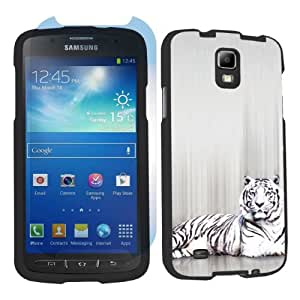 Samsung Galaxy S4 Active SGH-i537 (AT&T) Black Case + Screen Protector - White Tiger By SkinGuardz
