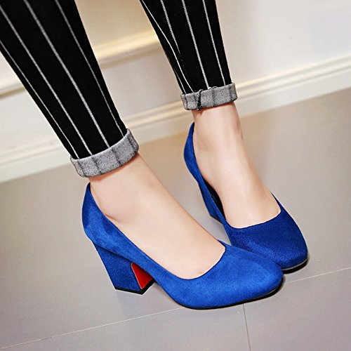 High Blockabsatz Für Heels Elegant Business Arbeit Top Damen Aisun Blau Low Pumps zFqnYX