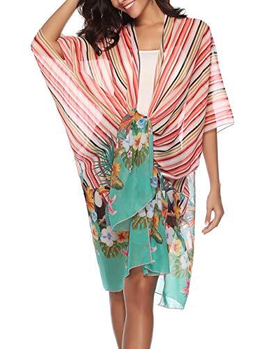 Womens Swimsuit Coverups Sheer Lightweight Knot Chiffon Swing Long Cover Up Kimono