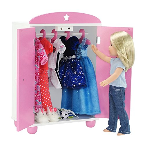 18 Inch Doll FurnitureBeautiful Pink and White Armoire Closet with Butterfly