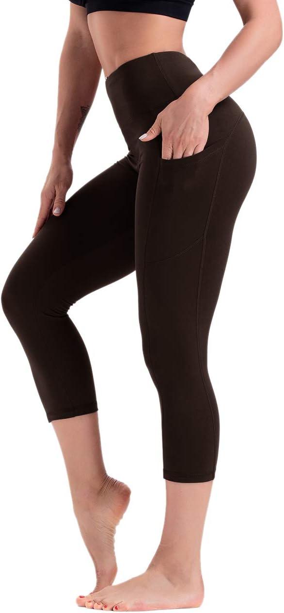 HLTPRO Mallas 3//4 Leggings Capris Mujer Yoga Mujer con Bolsillos para tel/éfono Capri Leggings Ropa de Entrenamiento con Cintura Alta y Control de Barriga Ideal para Correr Deportes Atletismo y Fitness