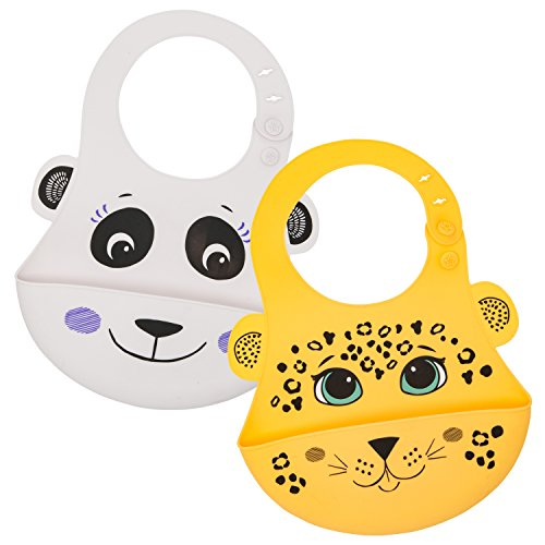Animal Friends Silicone Baby Bib, Set of 2 :: Waterproof Silicone Bib with Pocket to Catch Food & Drool :: Easy Care, Washable, Dishwasher Safe :: Unisex with Leopard & Panda Prints by Walabi