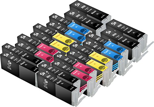 Sherman Ink Cartridges © 20 Pack Compatible Ink Cartridge Replacement for Canon PGI-250XL CLI-251XL For Printers: PIXMA MX922, PIXMA MG5420, PIXMA MG6320, PIXMA MG7120, PIXMA MG5520, PIXMA iP7220 4 Black, 4 Cyan, 4 Yellow, 4 Magenta, 4 Photo Black - Color Mx Canon Ink