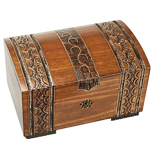 Pirates Polish High (Polish Handmade Wooden Brass Clad Chest Jewelry Keepsake Box w/ Lock and Key)