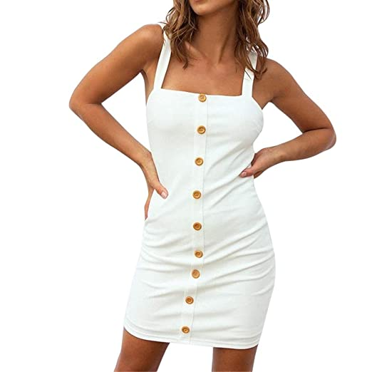 1845b49f81e9 MISYAA Bandeau Cocktail Dresses for Women, Button Down Beige Sleeveless Bodycon  Dress Office Nightclub Mini Dress at Amazon Women's Clothing store: