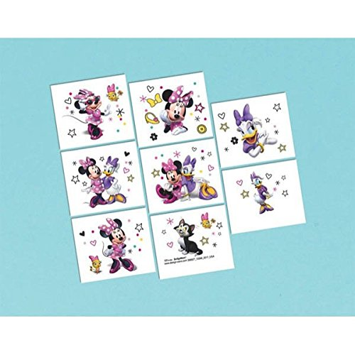 Disney Minnie Mouse Temporary Tattoos Birthday Party Accessory Favour and Prize Giveaway (4 Pack), Multi Color, 9