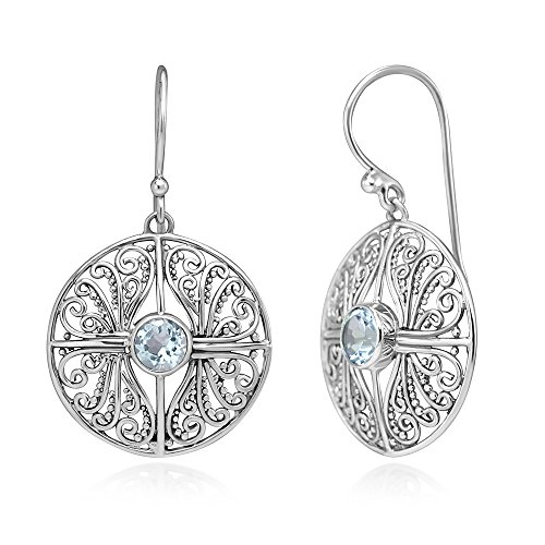 Etruscan Gemstone Earrings - 925 Sterling Silver Open Filigree Blue Topaz Gemstones Round Dangle Hook Earrings 1.5
