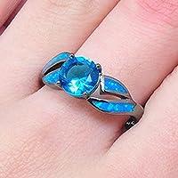 phitak shop Women Fashion Jewelry Aquamarine & Blue Fire Opal 925 Silver Wedding Ring New (9)