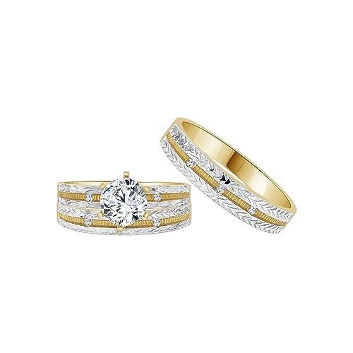 14 K Amarillo Oro Blanco y Rodio, Trio 3 piezas Juego de anillos de boda