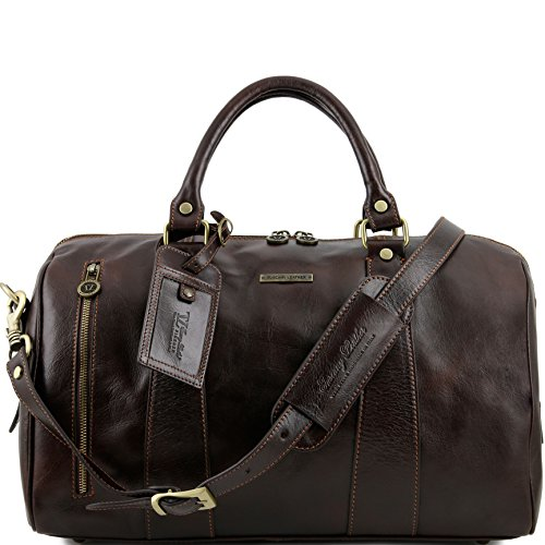 Tuscany Leather TL Voyager Travel leather duffle bag - Small size Dark Brown by Tuscany Leather