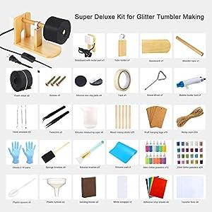 Sntieecr 128 PCS Epoxy Glitter Tumbler Turner Full Kits with Wooden Cup Spinner, Heat Gun, 36 PCS Glitter Powder, 91 PCS Epoxy Tools Include Self Adhesive Vinyl Sheets, Transfer Film for Craft Tumbler