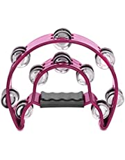 Flexzion Half Moon Musical Tambourine Double Row Metal Jingles Hand Held Percussion Drum with Handle Grip