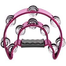 Flexzion Half Moon Musical Tambourine Double Row Metal Jingles Hand Held Percussion Drum Multicolor for Gift KTV Party Kids Toy with Ergonomic Handle Grip (pink)