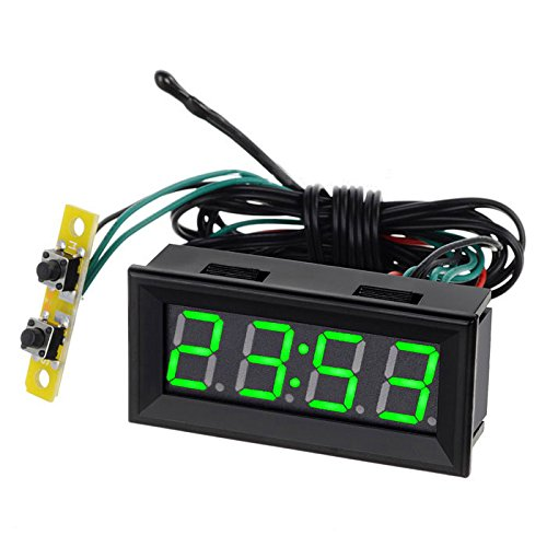 0.56 inch LED Clock Voltage Temperature Digital Display Thermometer Voltmeter Electrical Test Meters Digital Car Volt Gauge (Green Light) by AiELEMZION