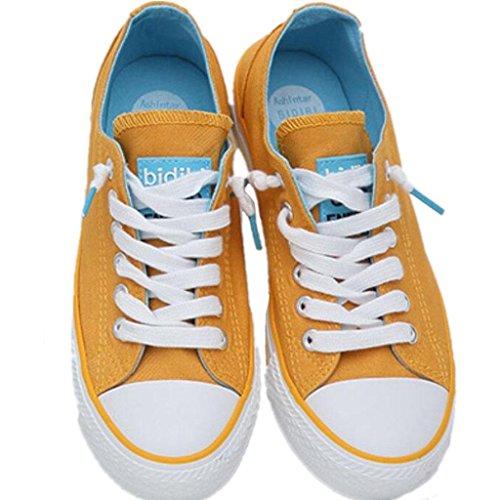 SHFANG Zapatos De La Señora Clásico De Verano Zapatos De Lino Movimiento Ocio Cómodo Estudiantes Escuela De Compras Tres Colores Yellow