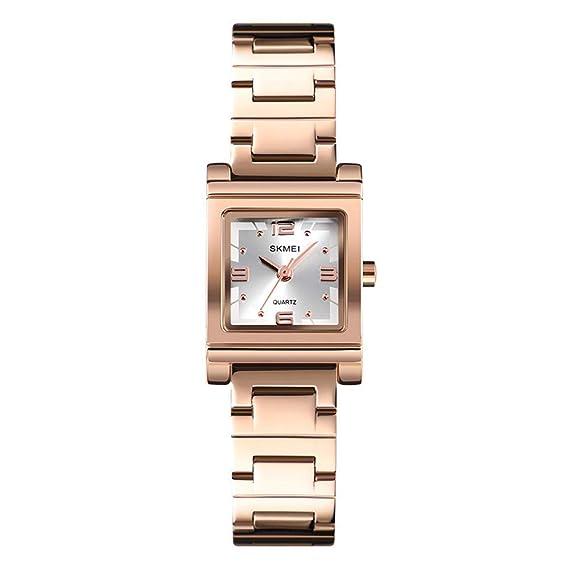 Relojes Pulsera Esfera Pequeña Cuadrada Cuarzo Relojes Mujer Chica Correa de Acero Inoxidable Elegante
